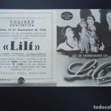 Cine: VD. SE ENAMORARÁ DE LILÍ 1954 LESLIE CARON, EL FERRER, JEAN PIERRE AUMONT DOBLE METRO PIE GRÁFICAS . Lote 156823362