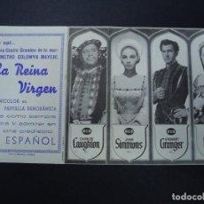 Cine: LA REINA VIRGEN - CHARLES LAUGHTON, JEAN SIMMONS, STEWART GRANGER CON PUBLICIDAD CINE ESPAÑOL PIE MA. Lote 156824402