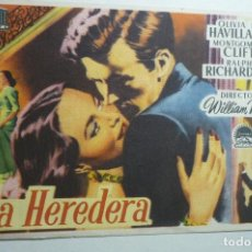 Cine: PROGRAMA LA HEREDERA - MONTGOMERY CLIFT - PUBLICIDAD TRIANA BB. Lote 156829530