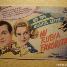 Cine: FOLLETO DE MANO PELÍCULA - FILM - MI RUBIA FAVORITA - ALIATAR CINEMA - 9 DE MAYO DE 1946 - GRANADA. Lote 156872182