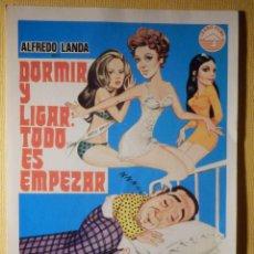 Cine: FOLLETO DE MANO PELÍCULA - FILM - DORMIR Y LIGAR TODO ES EMPEZAR . Lote 156905086