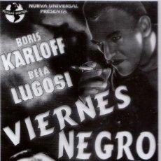 Cine: CINE 2 FOTOLITOS PELÍCULA VIERNES NEGRO BORIS KARLOFF BELA LUGOSI 1940 BLACK FRIDAY TERROR. Lote 157014670