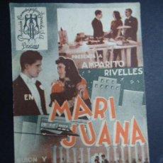 Cine: MARI JUANA - AMPARO RIVELLES - ROSITA ALBA DOBLE CON PUBLICIDAD DEL CINE YA - VOY PIE MARTÍ MARÍ . Lote 157015134