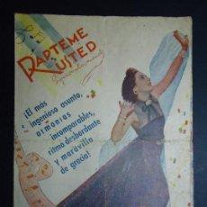 Cine: RÁPTEME USTED 1940 CELIA GAMEZ Y ENRIQUE GUITART DOBLE CINEDIA BASTANTE SOBADILLO SIN FALTAS VER . Lote 157021490