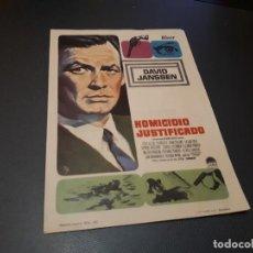 Cinema - PROGRAMA DE MANO ORIGINAL - HOMICIDIO JUSTIFICADO - CINE DE BENICALAP - 157310698