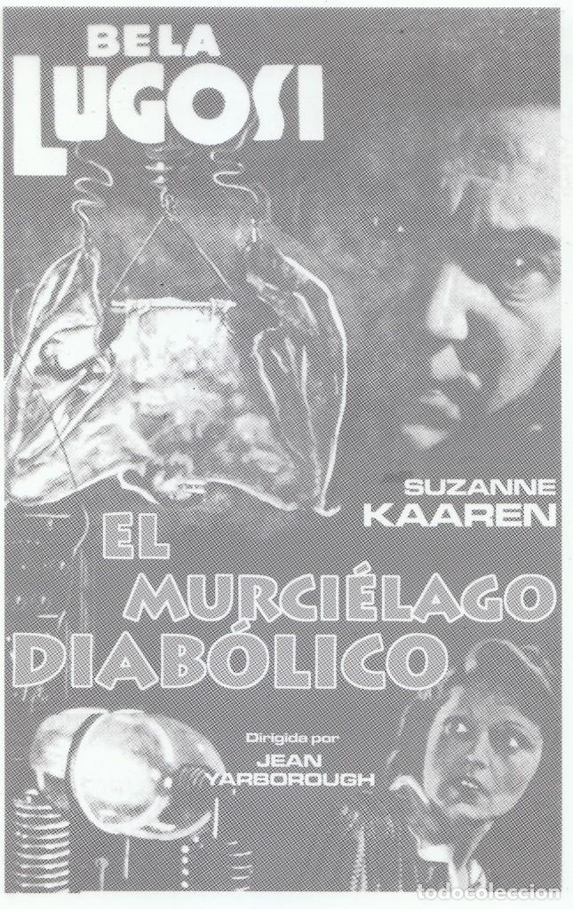 Cine: Cine 2 fantásticos fotolitos extraña película El murciélago diabólico, Bela Lugosi Serie B 1940. - Foto 2 - 157384758