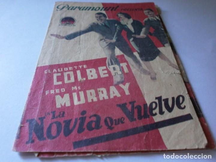 PROGRAMA TRIPLE - LA NOVIA QUE VUELVE - CLAUDETTE COLBERT, FRED MCMURRAY PARAMOUNT CINE IDEAL 1937 (Cine - Folletos de Mano - Comedia)