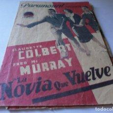 Cine: PROGRAMA TRIPLE - LA NOVIA QUE VUELVE - CLAUDETTE COLBERT, FRED MCMURRAY PARAMOUNT CINE IDEAL 1937. Lote 157745386