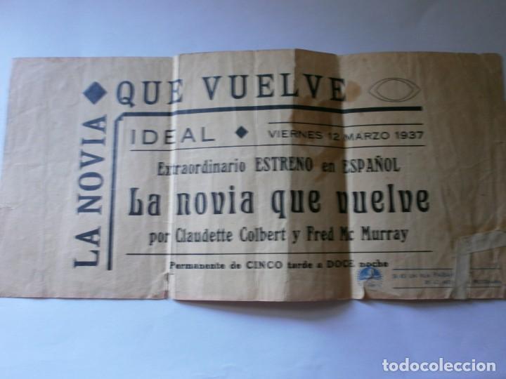 Cine: PROGRAMA TRIPLE - LA NOVIA QUE VUELVE - CLAUDETTE COLBERT, FRED McMURRAY PARAMOUNT CINE IDEAL 1937 - Foto 2 - 157745386