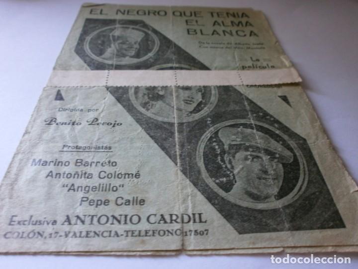 PROGRAMA DOBLE - EL NEGRO QUE TENIA ALMA BLANCA - MARINO BARRETO - CINE MONUMENTAL (VALENCIA) - 1934 (Cine - Folletos de Mano - Musicales)
