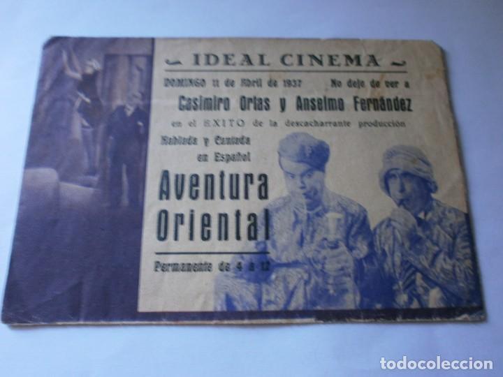 Cine: PROGRAMA DOBLE - AVENTURA ORIENTAL - CASIMIRO ORTAS, ANSELMO FERNÁNDEZ - IDEAL CINEMA (Valencia) - 1 - Foto 3 - 157799406