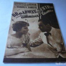 Cine: PROGRAMA DOBLE - BROADWAY POR DENTRO - CONSTANCE CUMMINGS, RUSS COLOMBO - SALÓN NACIONAL - 1939. Lote 157805802