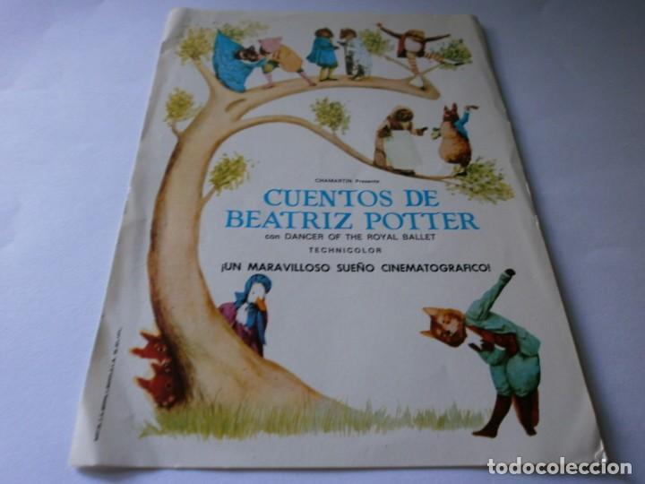 PROGRAMA DE CINE - CUENTOS DE BEATRIZ POTTER - BAILARINES DEL ROYAL BALLET - 1971. (Cine - Folletos de Mano - Infantil)