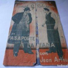 Cine: PROGRAMA TRIPLE - PASAPORTE A LA FAMA - EDWARD G. ROBINSON - COLUMBIA - TEATRO PRINCIPAL, 1937. Lote 157814702