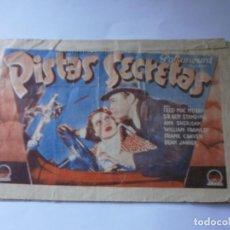 Cine: PROGRAMA DOBLE - PISTAS SECRETAS - FRED MAC MURRAY, ANN SHERIDAN - PARAMOUNT - TEATRO PRINCIPAL 1935. Lote 157816530