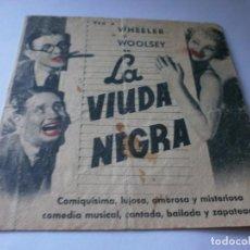 Cine: PROGRAMA DOBLE - LA VIUDA NEGRA - WHEELER Y WOOLSEY - TEATROS CALDERÓN Y CIRCO (ALCOY) - 1935.. Lote 157836590