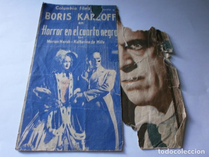 PROGRAMA DOBLE - HORROR EN EL CUARTO NEGRO - BORIS KARLOFF - COLUMBIA - IDEAL (ALICANTE) - 1936. (Cine - Folletos de Mano - Terror)