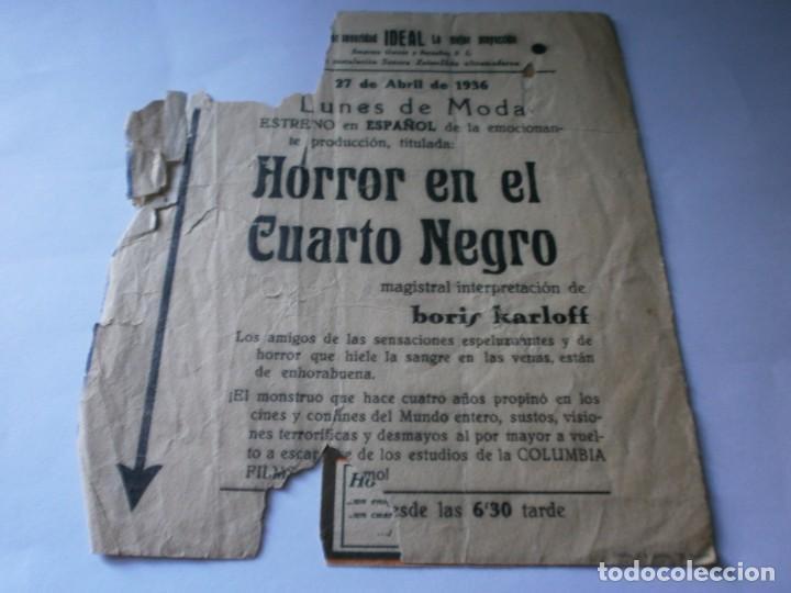 Cine: PROGRAMA DOBLE - HORROR EN EL CUARTO NEGRO - BORIS KARLOFF - COLUMBIA - IDEAL (Alicante) - 1936. - Foto 3 - 157839410