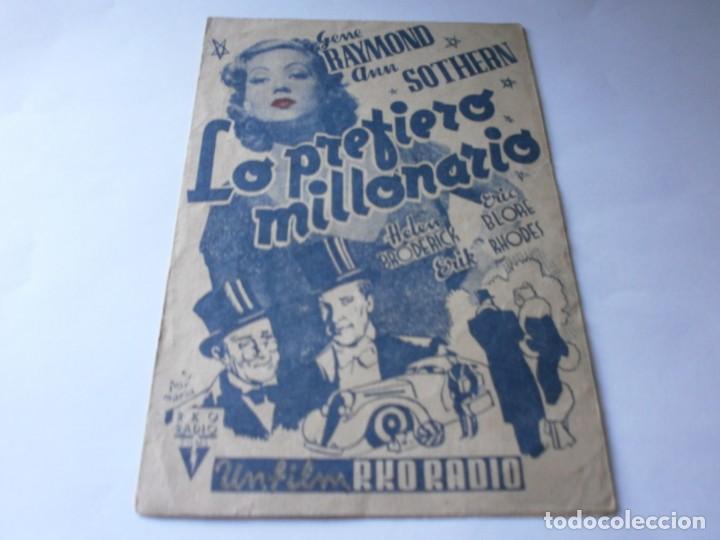 PROGRAMA DOBLE - LO PREFIERO MILLONARIO - GENE RAYMOND, ANN SOTHERN - RKO RADIO - IDEAL (ALICANTE) (Cine - Folletos de Mano - Comedia)