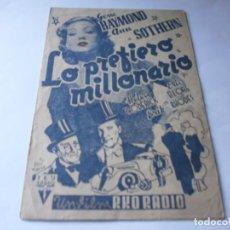Cine: PROGRAMA DOBLE - LO PREFIERO MILLONARIO - GENE RAYMOND, ANN SOTHERN - RKO RADIO - IDEAL (ALICANTE). Lote 157888970