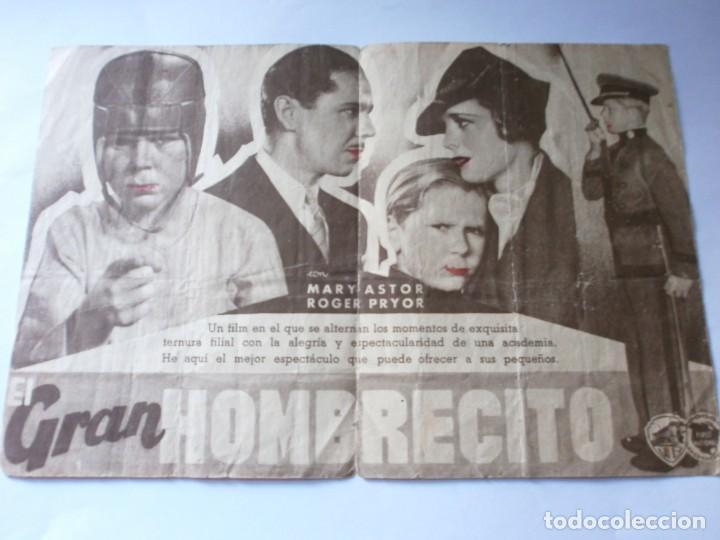 Cine: PROGRAMA DOBLE - EL GRAN HOMBRECITO - JACKIE COOPER - WARNER BROS - IDEAL CINEMA - 1937. - Foto 2 - 157890546