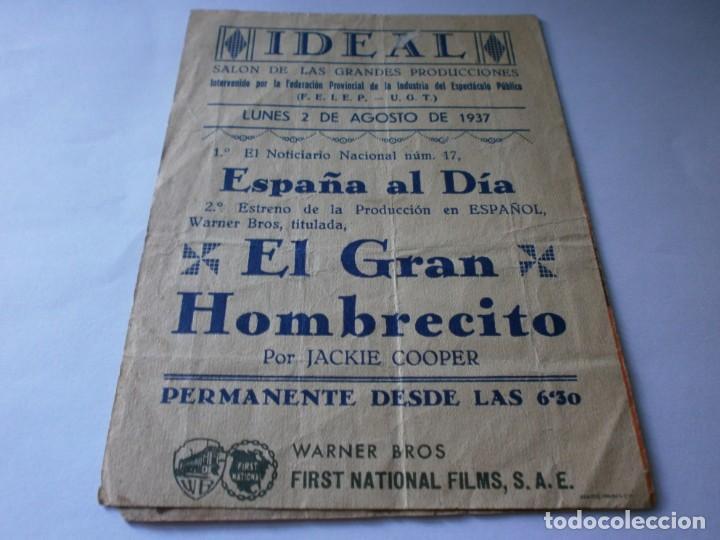 Cine: PROGRAMA DOBLE - EL GRAN HOMBRECITO - JACKIE COOPER - WARNER BROS - IDEAL CINEMA - 1937. - Foto 3 - 157890546