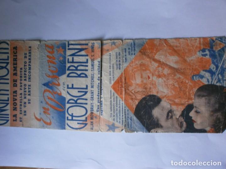 Cine: PROGRAMA DOBLE - EN PERSONA - GINGER ROGERS, GEORGE BRENT - IDEAL CINEMA - 1937. - Foto 2 - 157892322