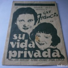 Cine: PROGRAMA DOBLE - SU VIDA PRIVADA - KAY FRANCIS, SYBIL JASON - WARNER BROS - IDEAL CINEMA - 1937.. Lote 157896130