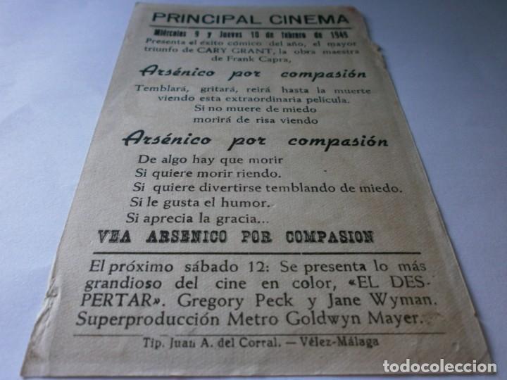 Cine: PROGRAMA DE CINE ARSÉNICO POR COMPASIÓN - CARY GRANT - WARNER BROS - PRINCIPAL CINEMA (Vélez-Málaga) - Foto 2 - 157899526