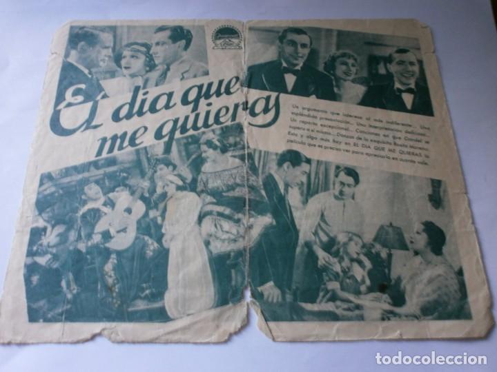 Cine: PROGRAMA DOBLE - EL DIA QUE ME QUIERAS - CARLOS GARDEL, ROSITA MORENO - PARAMOUNT - CINE MONUMENTAL - Foto 2 - 157907222