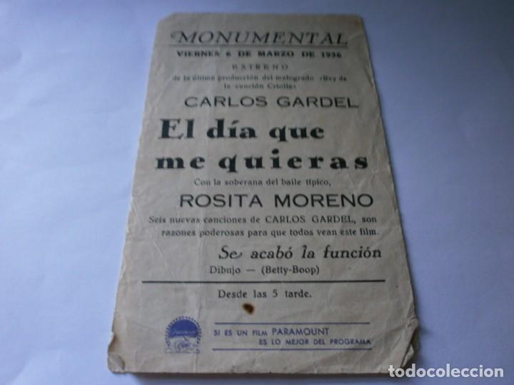 Cine: PROGRAMA DOBLE - EL DIA QUE ME QUIERAS - CARLOS GARDEL, ROSITA MORENO - PARAMOUNT - CINE MONUMENTAL - Foto 3 - 157907222