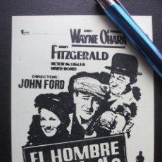 Cine: EL HOMBRE TRANQUILO, JOHN WAYNE, FOLLETO LOCAL DEL TEATRO CAMPOS DE BILBAO. Lote 157960258