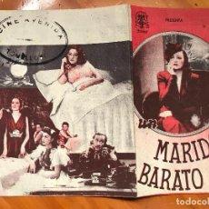 Cine: FOLLETO DE MANO DOBLE - UN MARIDO BARATO - LUIS GARCIA ORTEGA. ROSITA MONTAÑA. Lote 158017266