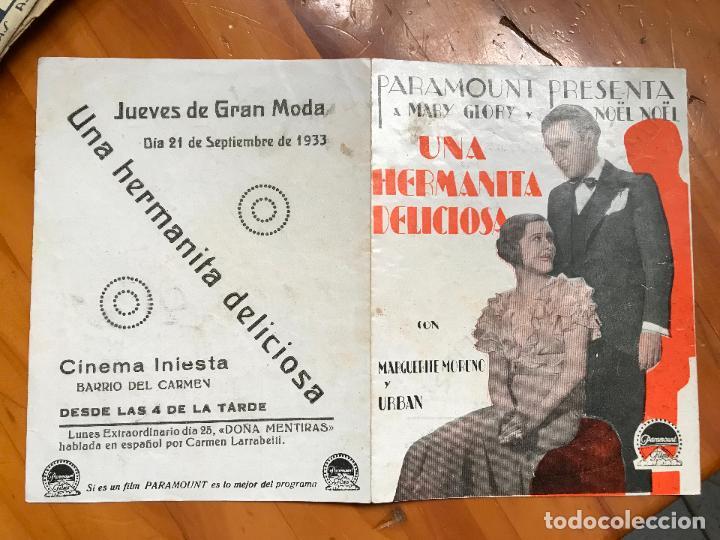 UNA HERMANITA DELICIOSA FOLLETO DE MANO ORIGINAL CON CINE IMPRESO MUY BUEN ESTADO CINE INIESTA5 (Cine - Folletos de Mano - Comedia)