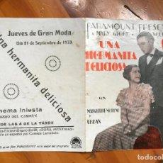 Cine: UNA HERMANITA DELICIOSA FOLLETO DE MANO ORIGINAL CON CINE IMPRESO MUY BUEN ESTADO CINE INIESTA5. Lote 158029462