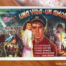 Cine: FOLLETO MANO UNA VIDA Y UN AMOR - PROGRAMA SENCILLO SIN PUBLICIDAD . Lote 158033970