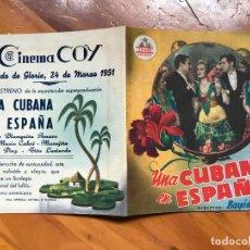 Cine: UNA CUBANA EN ESPAÑA - FOLLETO DE MANO - CINEMA COY MURCIA. Lote 158040770