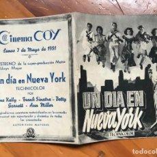 Cine: UN DIA EN NUEVA YORK, GENE KELLY, FRANK SINATRA, CINE CAPITOL, FOLLETO MANO CINEMA COY MURCIA. Lote 158041398