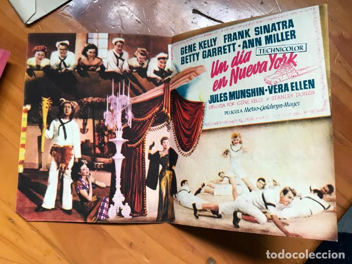Cine: Un dia en Nueva York, Gene Kelly, Frank Sinatra, cine Capitol, folleto mano cinema coy murcia - Foto 2 - 158041398