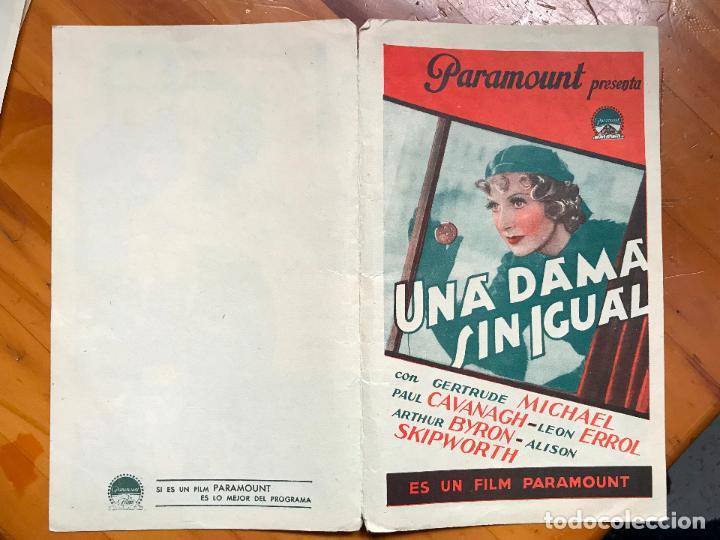 UNA DAMA SIN IGUAL. PROGRAMA DOBLE. PARAMOUNT. 1935. SIN PUBLICIDAD (Cine - Folletos de Mano - Comedia)