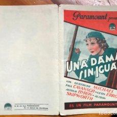 Cine: UNA DAMA SIN IGUAL. PROGRAMA DOBLE. PARAMOUNT. 1935. SIN PUBLICIDAD. Lote 158046378
