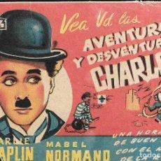 Cine: PROGRAMA DE CINE - AVENTURAS Y DESVENTURAS DE CHARLOT - CHARLES CHAPLIN - 1918 - SIN PUBLICIDAD.. Lote 158144526
