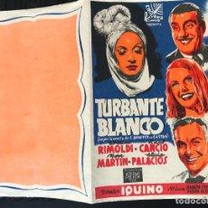 Cine: PROGRAMA DE CINE. DOBLE. TURBANTE BLANCO. SIN PUBLICIDAD.. Lote 158165374