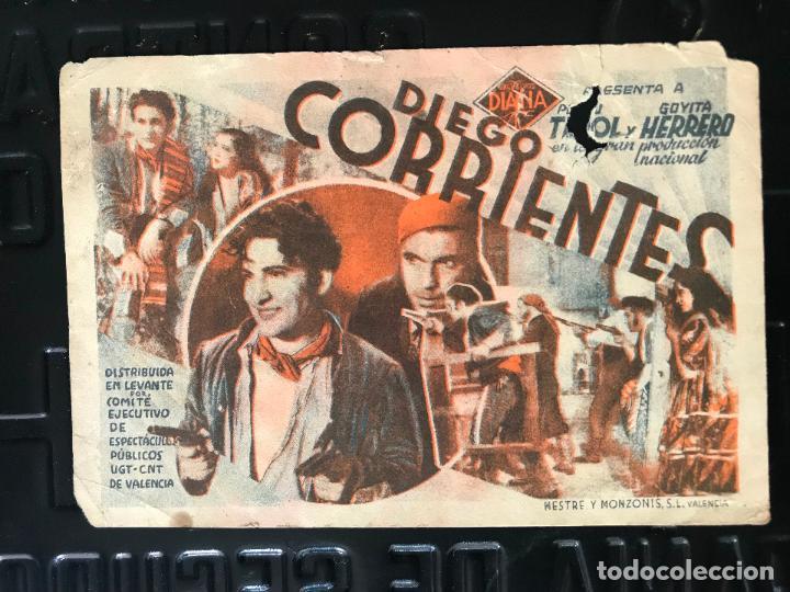 PROGRAMA DE CINE TARJETA CARTULINA * DIEGO CORRIENTES *SIN PUBLICIDAD (Cine - Folletos de Mano - Comedia)
