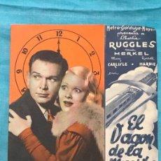 Cine: EL VAGON DE LA MUERTE PROGRAMA DOBLE MGM CHARLES RUGGLES UNA MERKEL MARY CARLISLE SIN PUBL. Lote 158324770