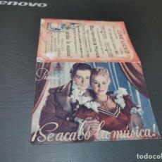Cine: PROGRAMA DE MANO ORIG DOBLE - SE ACABO LA MUSICA - CINE DE MERIDA . Lote 158340502