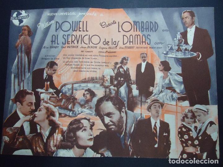 Cine: AL SERVICIO DE LAS DAMAS, DOBLE AÑOS 30, WILLIAM POWELL CAROLE LOMBARD CON PUBLICIDAD TEATRO ROSALIA - Foto 2 - 158563478