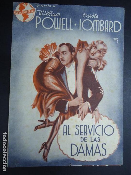 AL SERVICIO DE LAS DAMAS, DOBLE AÑOS 30, WILLIAM POWELL CAROLE LOMBARD CON PUBLICIDAD TEATRO ROSALIA (Cine - Folletos de Mano - Comedia)
