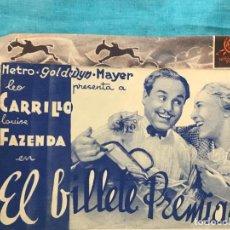 Cine: EL BILLETE PREMIADO / PROGRAMA DOBLE DE MGM SIN PUBLICIDAD. Lote 158718562