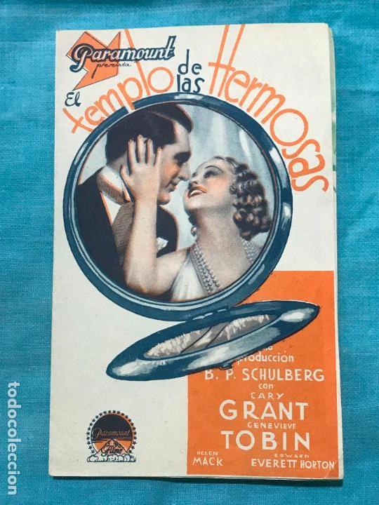PROGRAMA EL TEMPLO DE LAS HERMOSAS - GARY GRANT - SIN PUBLICIDAD (Cine - Folletos de Mano - Comedia)